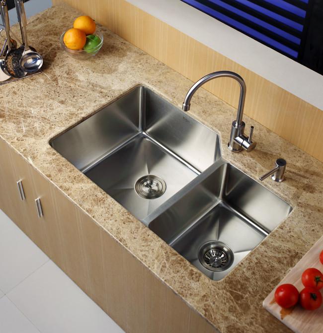 32 Inch Undermount Kitchen Sink: Kraus KHU12332 32 Inch Undermount 60/40 Double Bowl