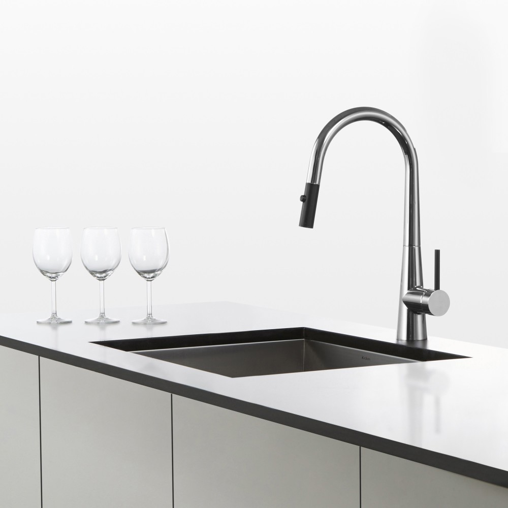Kraus Kpf2720ch Single Lever Pull Down Kitchen Faucet With 8 3 8 Inch Spout Reach Dual Function