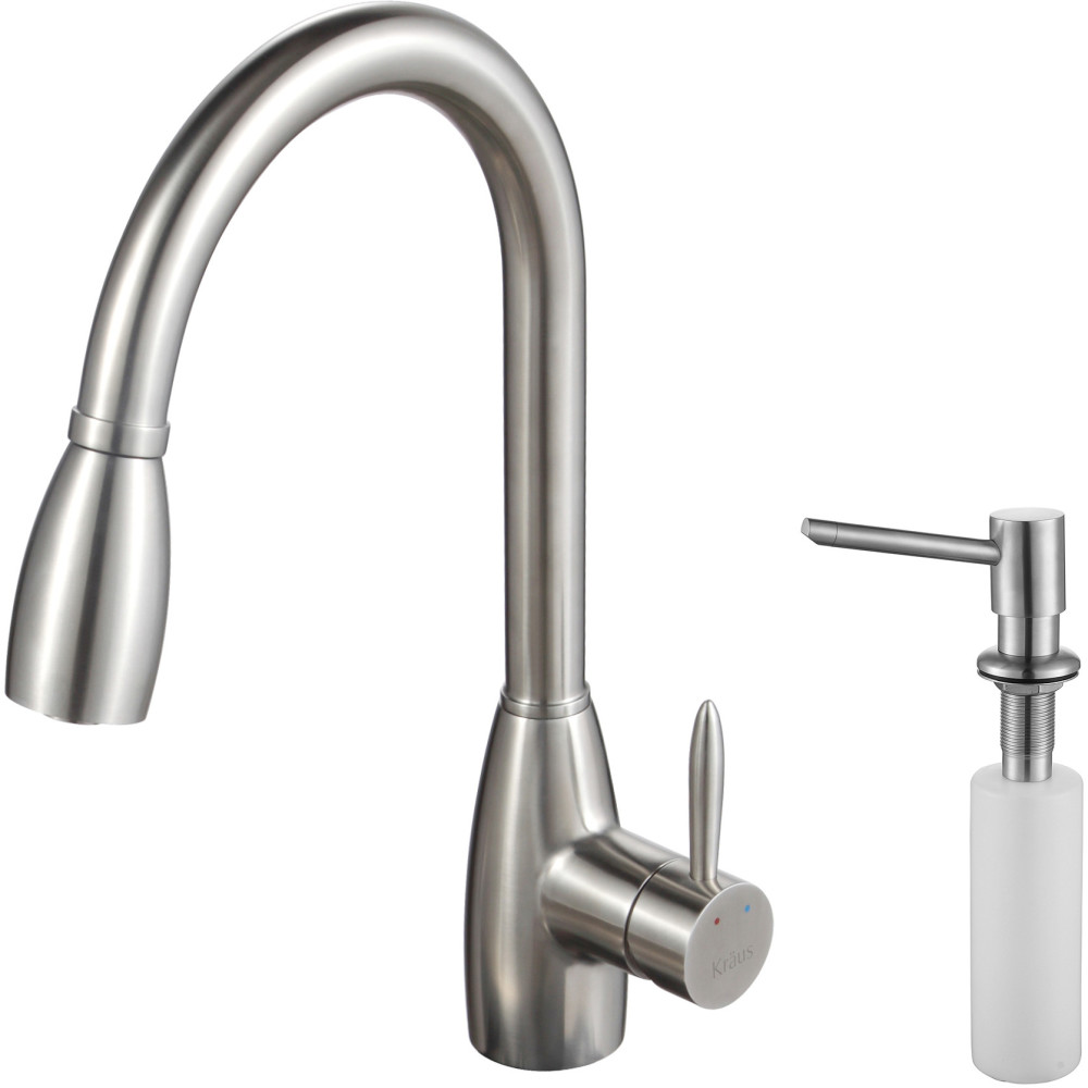 Kraus Kpf2130sd20 Single Lever Pull Out Faucet With 9 Inch Spout Reach 24 Inch Spring Tensioned