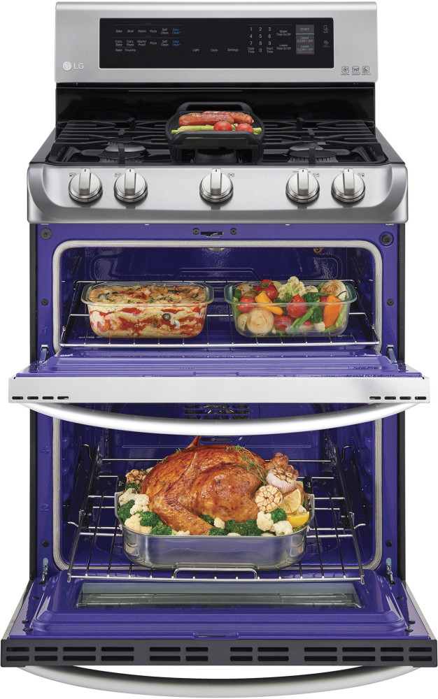 Double Oven Griddle ~ Lg ldg st inch freestanding double oven gas range