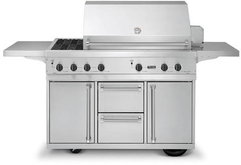 Viking vgiq5323rt1n 53 inch built in gas grill with 836 sq for Viking built in grill