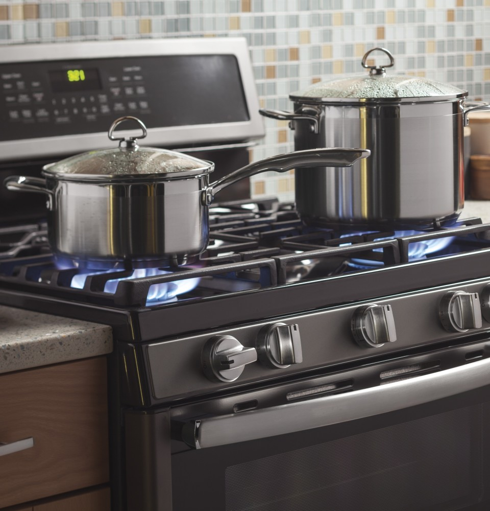 Ge profile 5 burner gas range - Double Oven Gas Range With 5 Sealed Burners 6 8 Cu Ft Convection