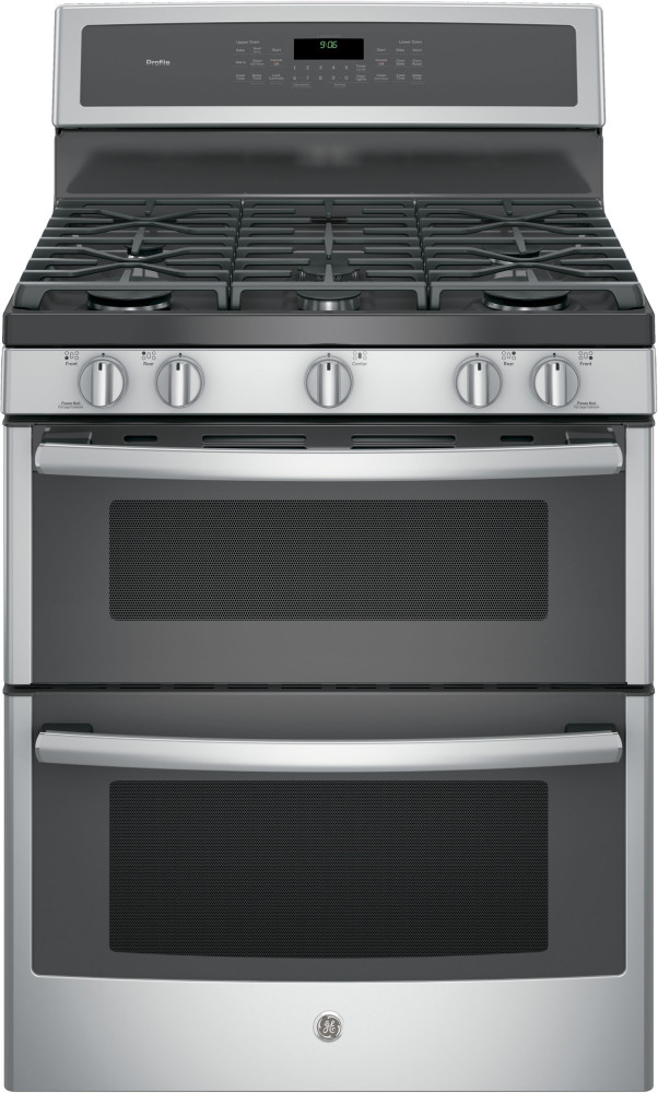 Double Oven Griddle ~ Ge pgb inch freestanding double oven gas range with