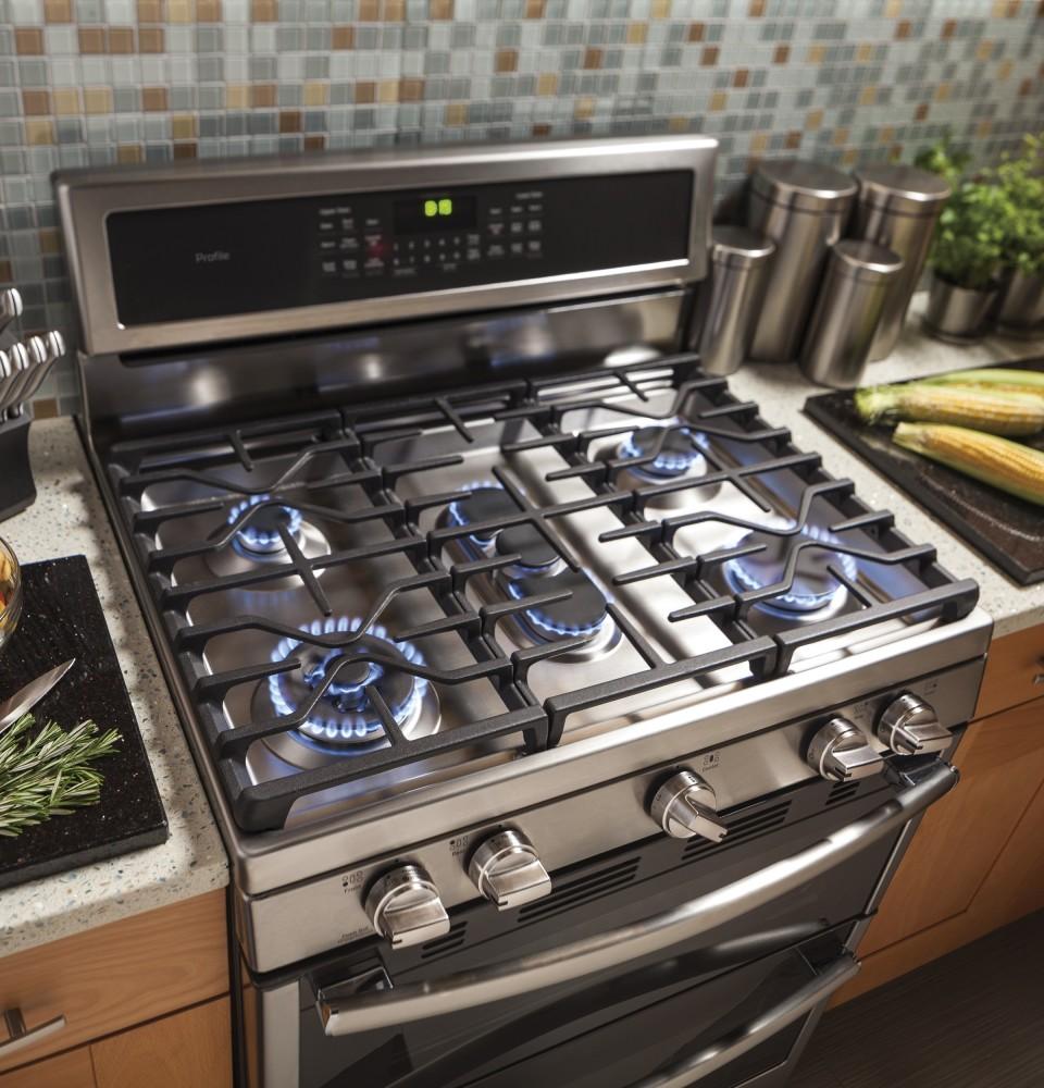 Ge Pgb980Zejss 30 tommer fritstående dobbelt ovn gasområde-3787