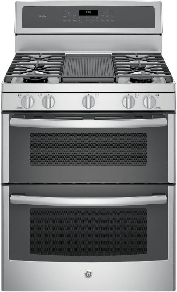 Double Oven Griddle ~ Ge pgb zejss inch freestanding double oven gas range