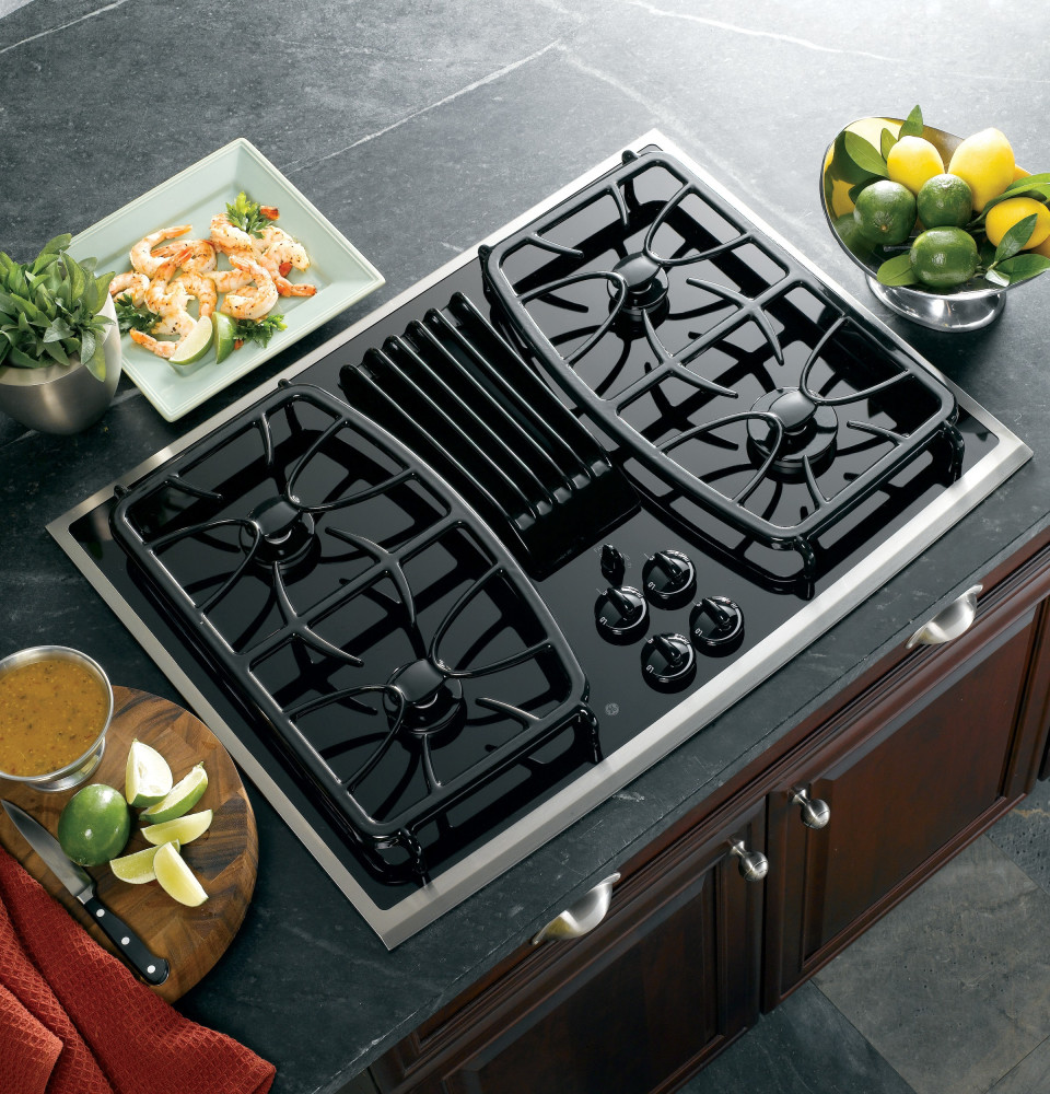 Self Venting Cooktops ~ Ge pgp snss inch gas downdraft cooktop with cfm