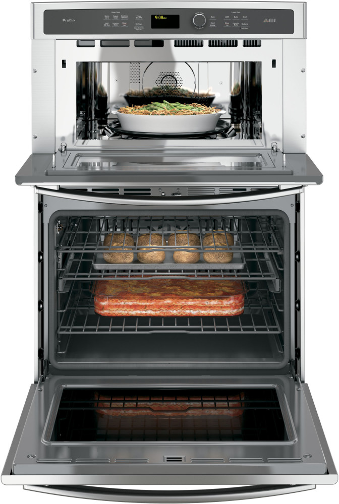 Ge pt9800shss 30 inch built in combination wall oven with for Built in microwave ovens 30 inch