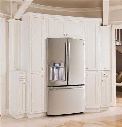 GE PYE22PSHSS 36 Inch French Door Refrigerator With 22.1 Cu. Ft. Capacity, 4 Adjustable Glass