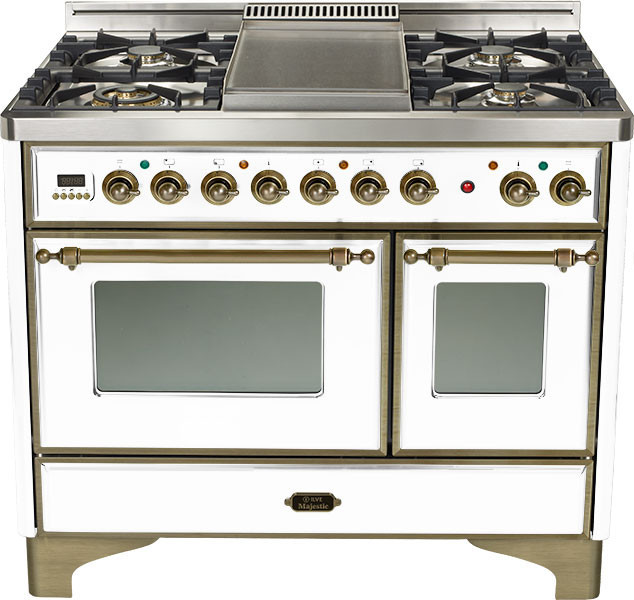 ilve umd100smpby 40 inch traditional style dual fuel range with 4 sealed burners 2 44 cu ft