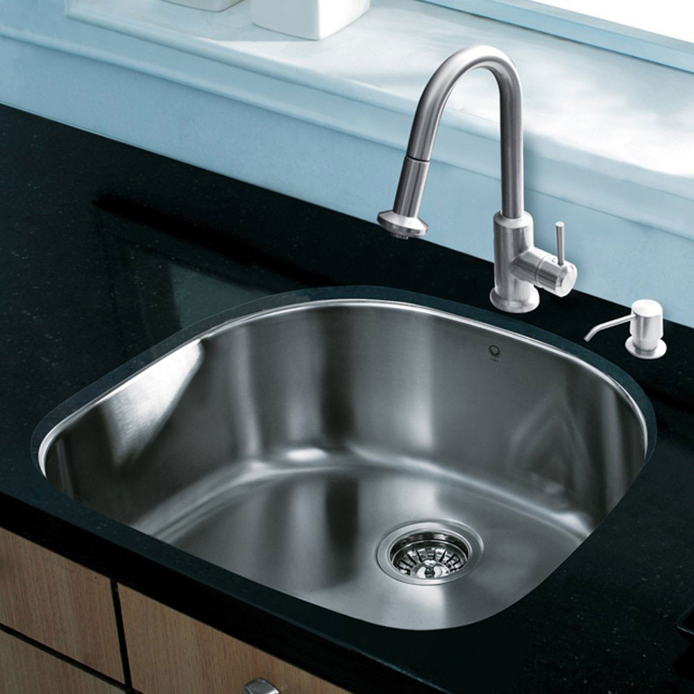 Vigo Industries Vg15292 24 Inch All In One Undermount Kitchen Sink Set With 9 Inch Basin Depth