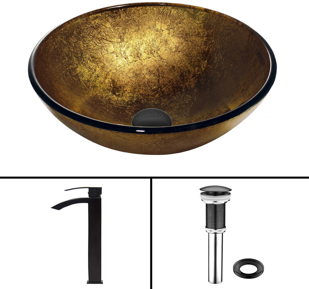 Gold Sink Bowl : VGT386 16.5 Inch Liquid Gold Glass Vessel Sink with 6 Inch Bowl ...