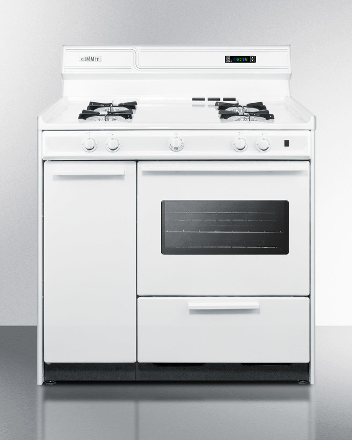 summit wnm4307kw 36 inch freestanding gas range with manual clean oven window side storage. Black Bedroom Furniture Sets. Home Design Ideas