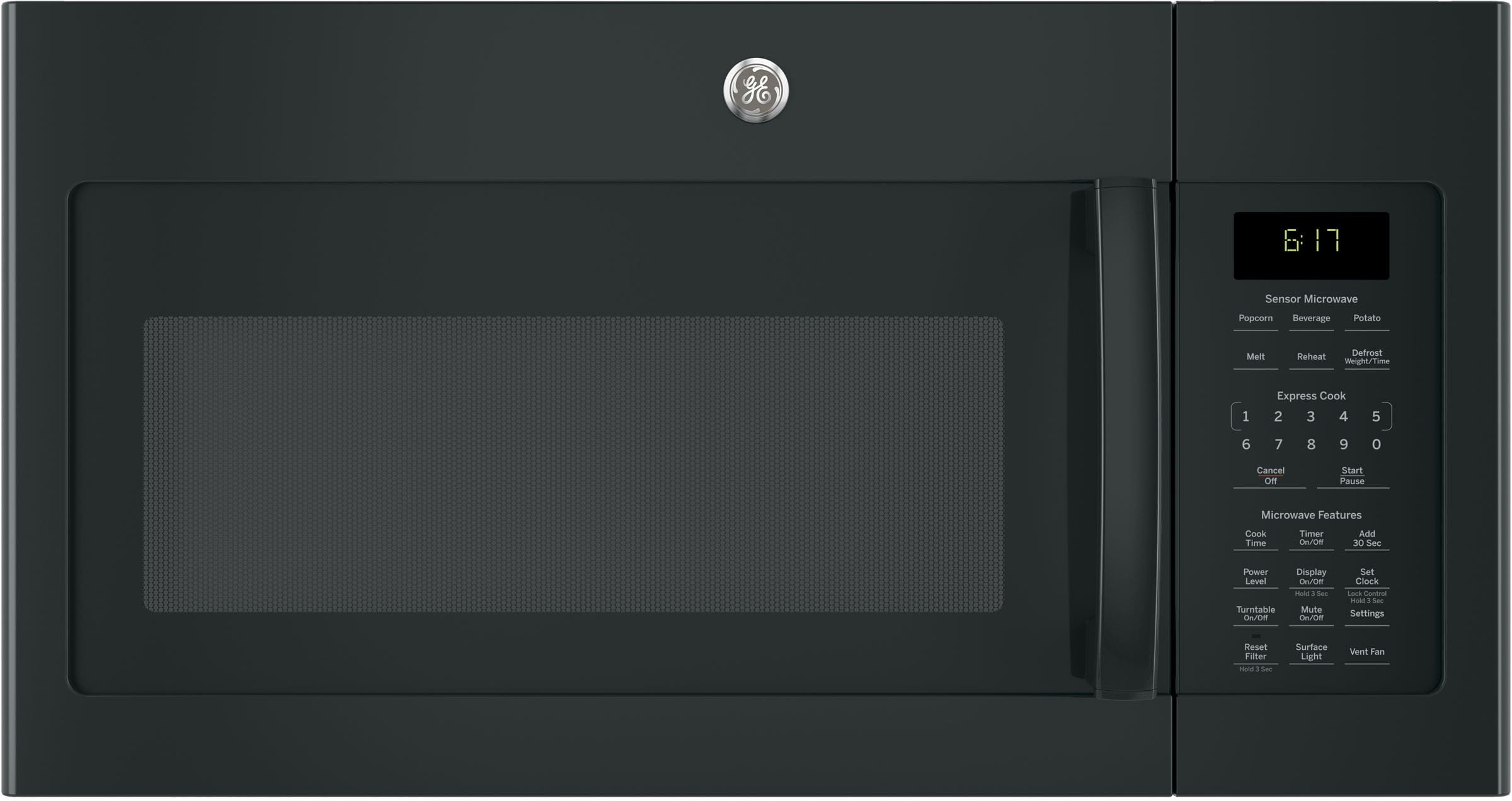 Ge Jvm6175dkbb 1 7 Cu Ft Over The Range Microwave With 1 000 Watts 300 Cfm Ventilation 10 Power Levels Sensor Cooking Melt Feature Add 30 Seconds Button Weight And Time Defrost Clock And Timer And