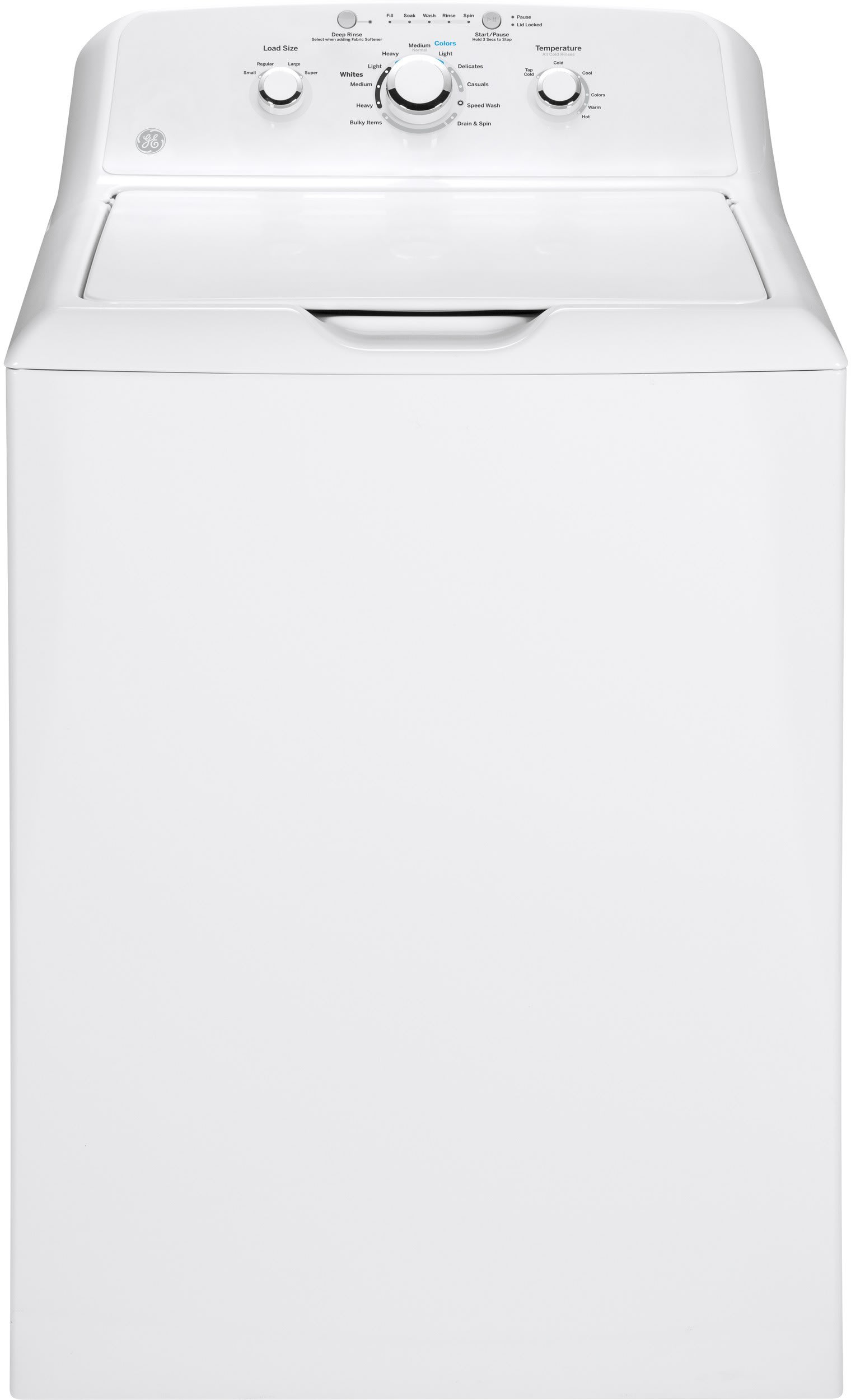 GE GTW330ASKWW 27 Inch 3.8 cu. ft. Top Load Washer with 11 Wash Cycles, 700  RPM, Deep Rinse, Speed Wash, Bleach and Fabric Softener Dispensers, ...
