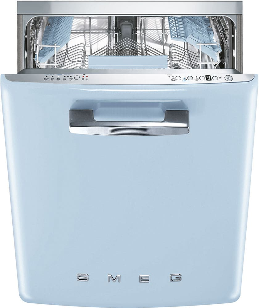 Apartment Size Dishwasher: Smeg FAB28UPBL1 24 Inch 50's Style Refrigerator With