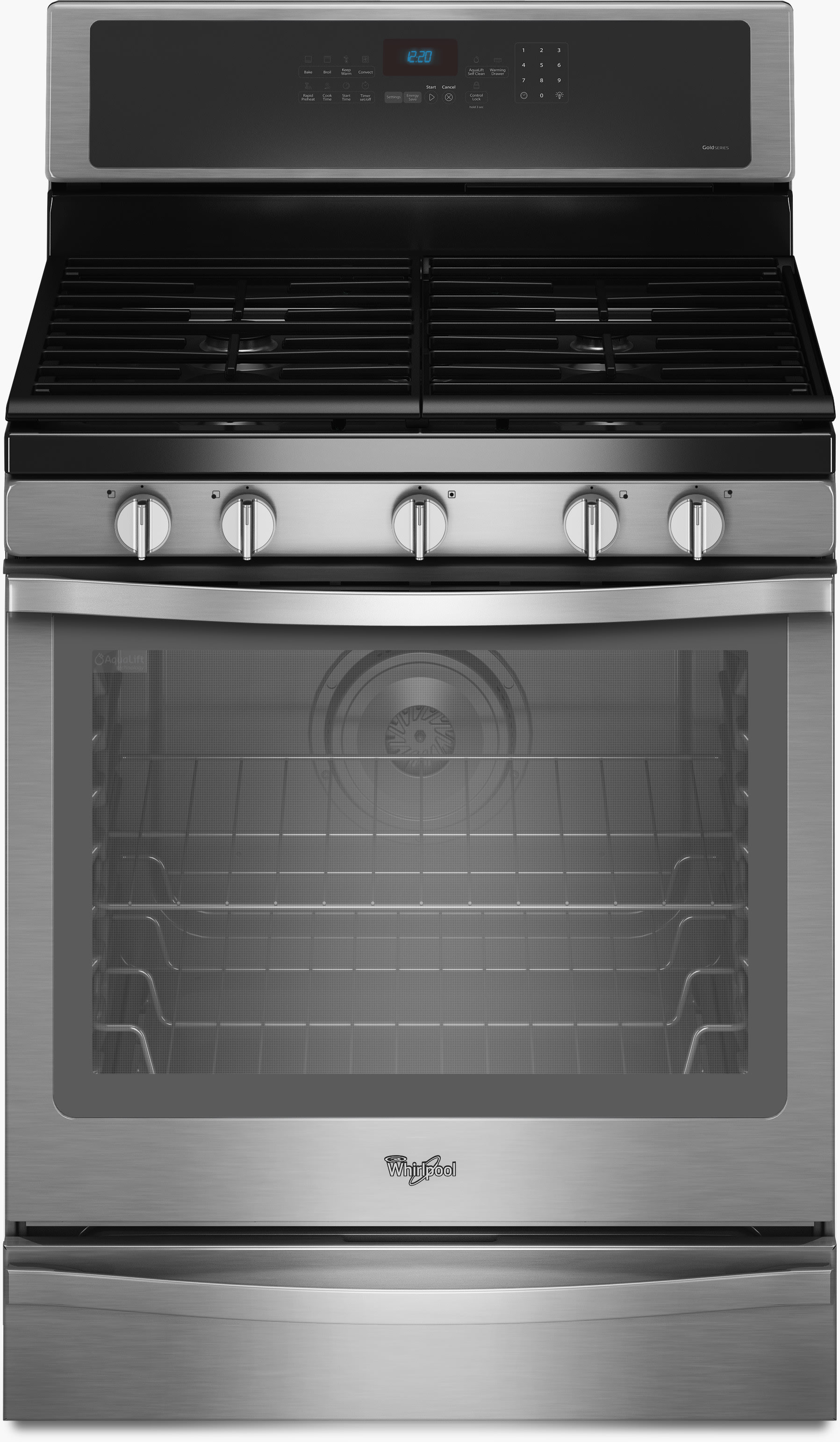 Whirlpool GZ7736XGS 36 Inch Under Cabinet Slide Out Range Hood #2: wfg715h0e ss front view