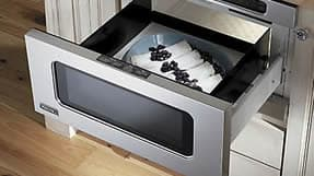 the latest development in microwave ovens is the microwave drawer these units are installed below the countertop and open like a drawer