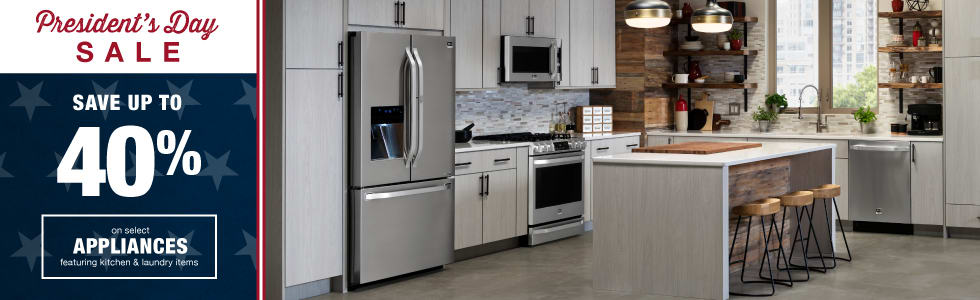 Presidents' Day: Save up to 40% on select kitchen & laundry appliances!