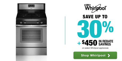 Whirlpool: Save up to 30% plus an additional $450 in rebate savings on select kitchen packages