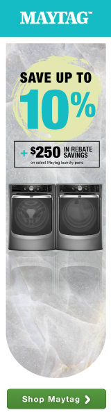 Save up to 10% plus an additional $250 in rebate savings on select laundry pairs