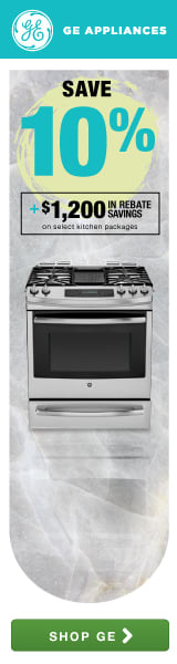 GE: Save up to 10% plus $1200 in rebate savings on select kitchen packages!