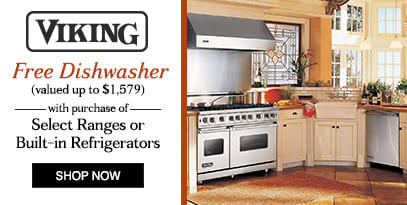 Viking Free dishwasher with the purchase select ranges or built-in refrigerators