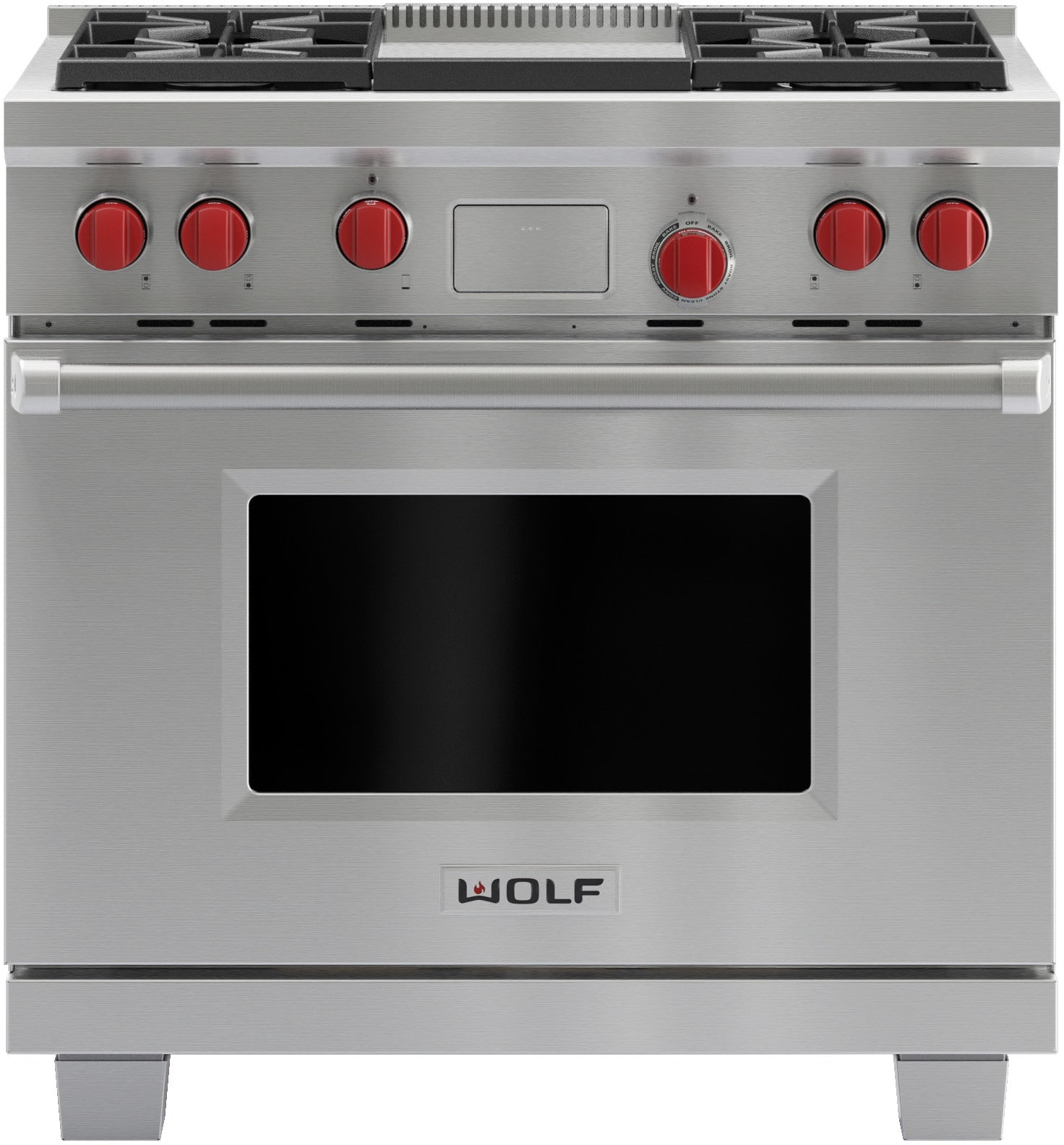 Wolf Df364g 36 Inch Pro Style Dual Fuel Range With 4 Dual