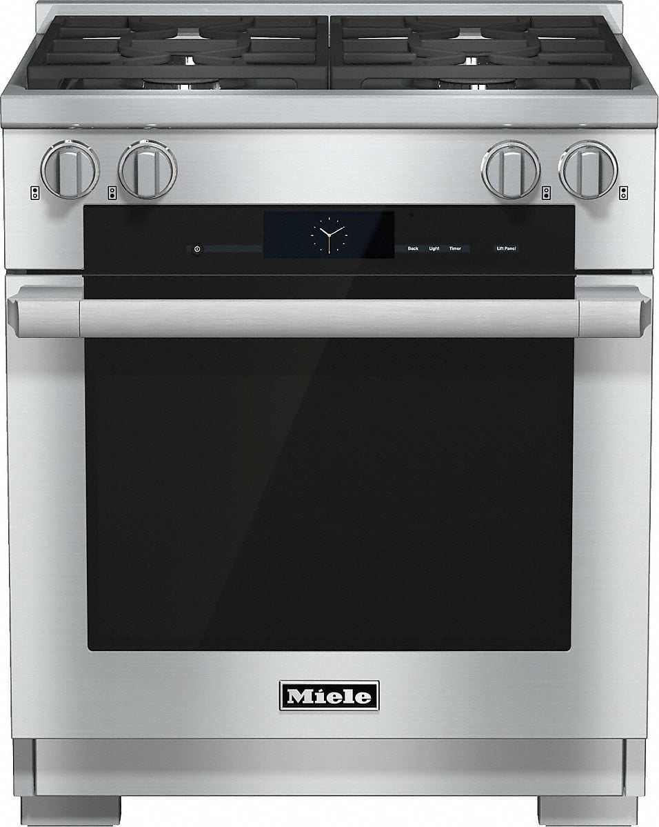 miele hr1924df 30 inch pro style dual fuel range with 4 m pro dual stacked sealed burners. Black Bedroom Furniture Sets. Home Design Ideas