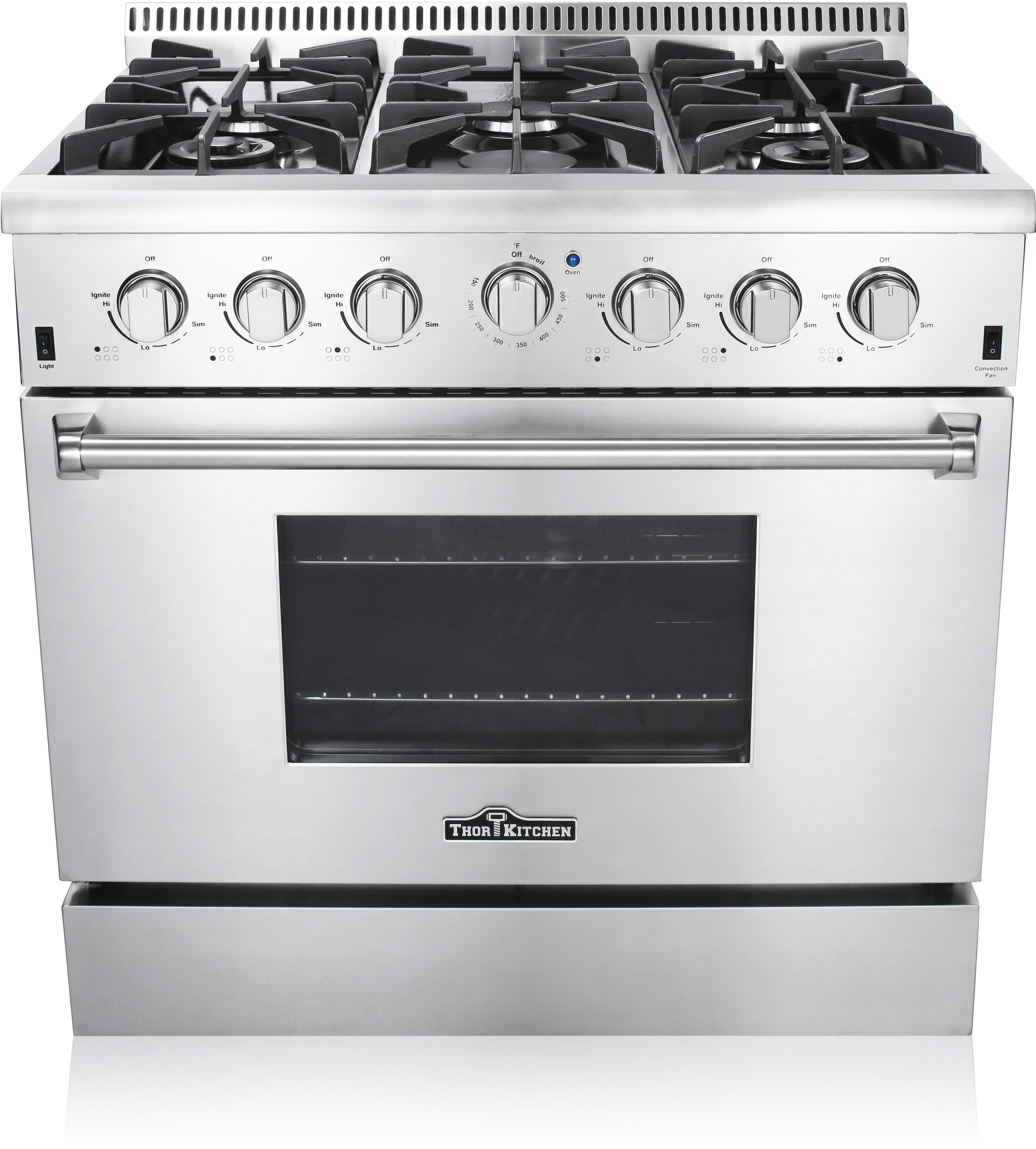 Thor Kitchen HRG3618U 36 Inch Freestanding Gas Range with Convection ...