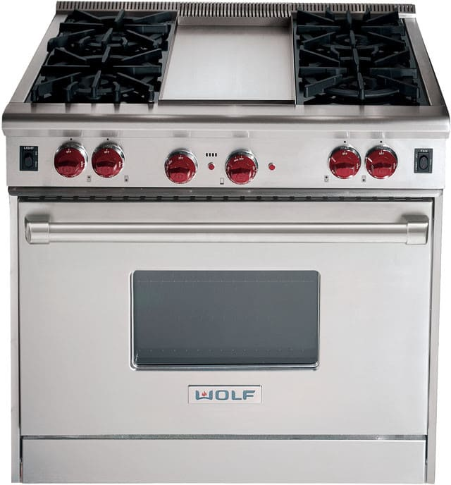 Wolf R364g 36 Inch Pro Style Gas Range With 4 Dual Brass