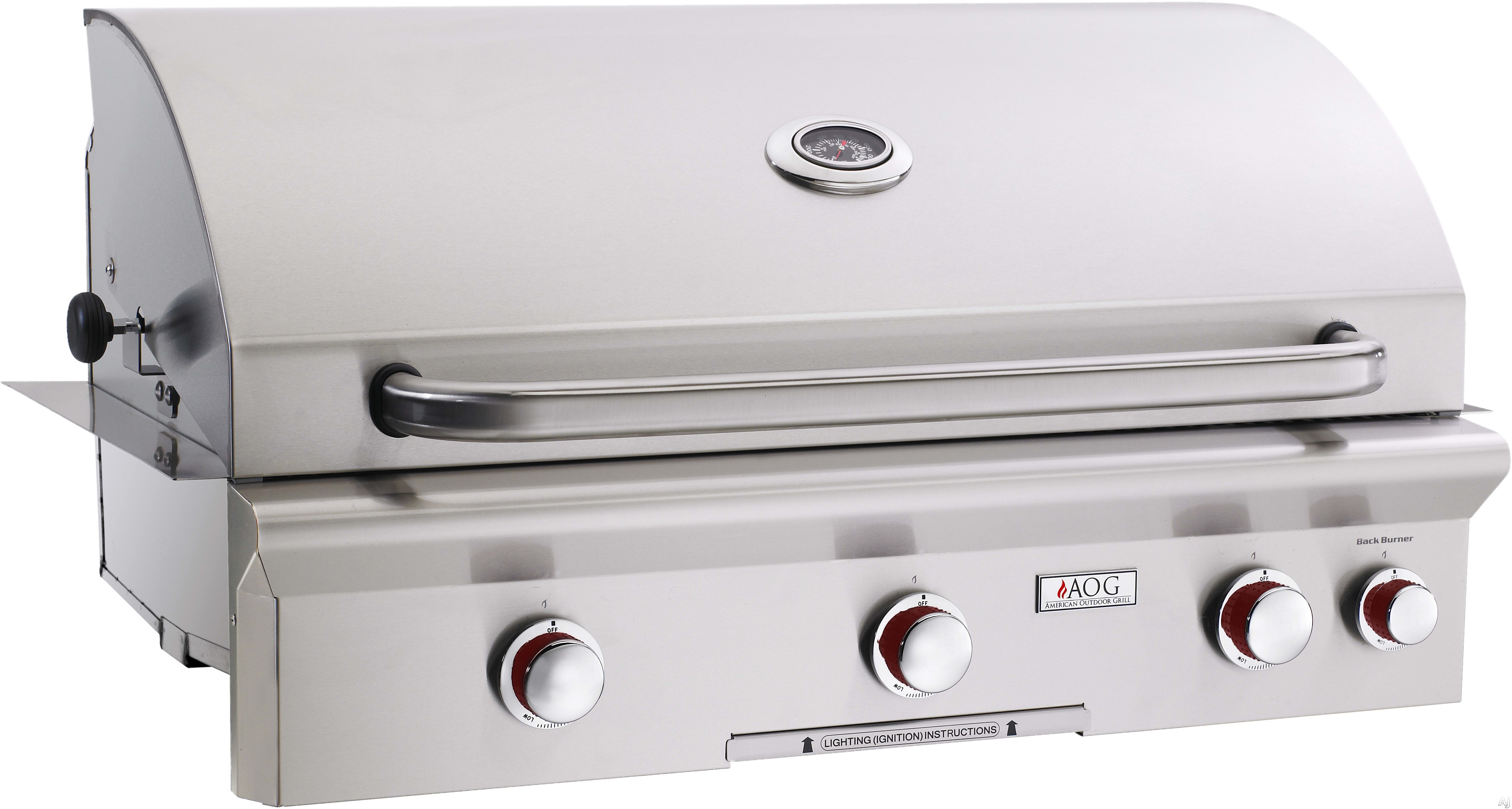 American Outdoor Grill 36NBT00SP 36 Inch Built In Gas Grill With 648 Sq.  In. Cooking Surface, 3 16,500 BTU Primary Burners, Analog Thermometer And  Stainless ...