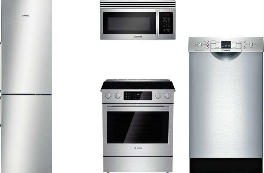 Bosch Boreradwmw4 4 Piece Kitchen Appliances Package With Bottom Freezer Refrigerator Electric