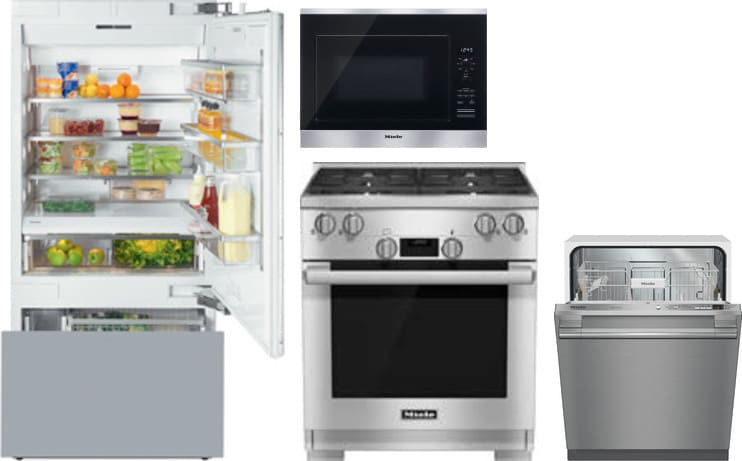 Miele MIRERADWMW46 Miele 4 Piece Kitchen Appliances Package with ...