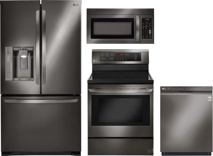 LG LGRERADWMW6156 4 Piece Kitchen Appliances Package with