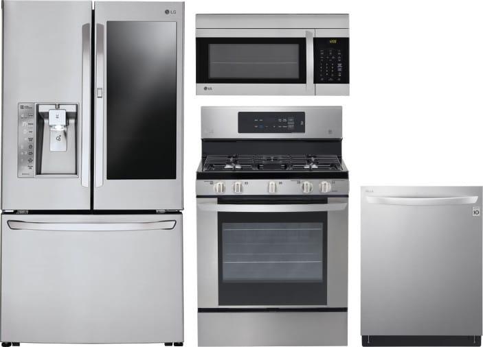 LG LGRERADWMW6197 4 Piece Kitchen Appliances Package with
