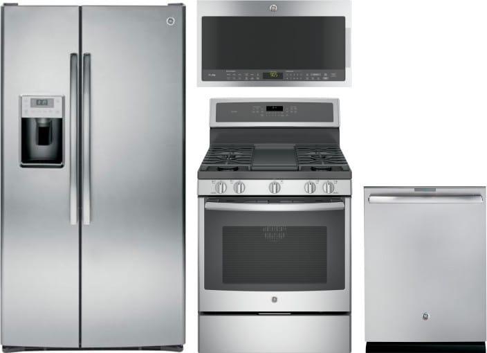 GE GERERADWMW8013 4 Piece Kitchen Appliances Package with