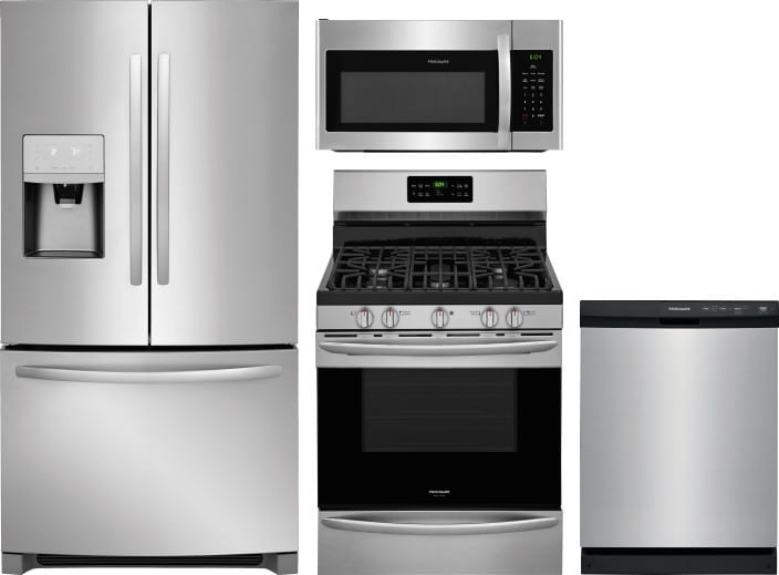 Frigidaire FRRERADWMW8943 4 Piece Kitchen Appliances Package With French  Door Refrigerator, Gas Range, Dishwasher And Over The Range Microwave In  Stainless ...