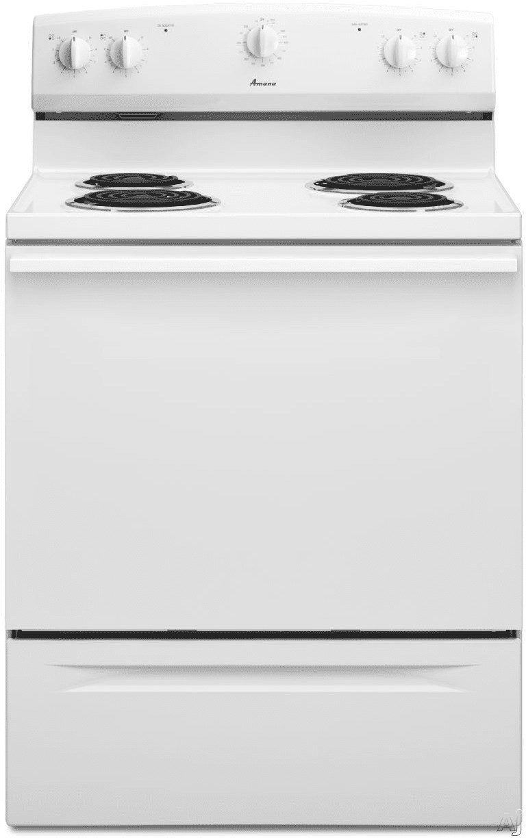 Amana Acr3130baw 30 Inch Freestanding Electric Range With 4 Coil Gas Dryer Wiring Diagram Elements 48 Cu Ft Manual Clean Oven Hot Surface Indicator Light 2 Adjustable