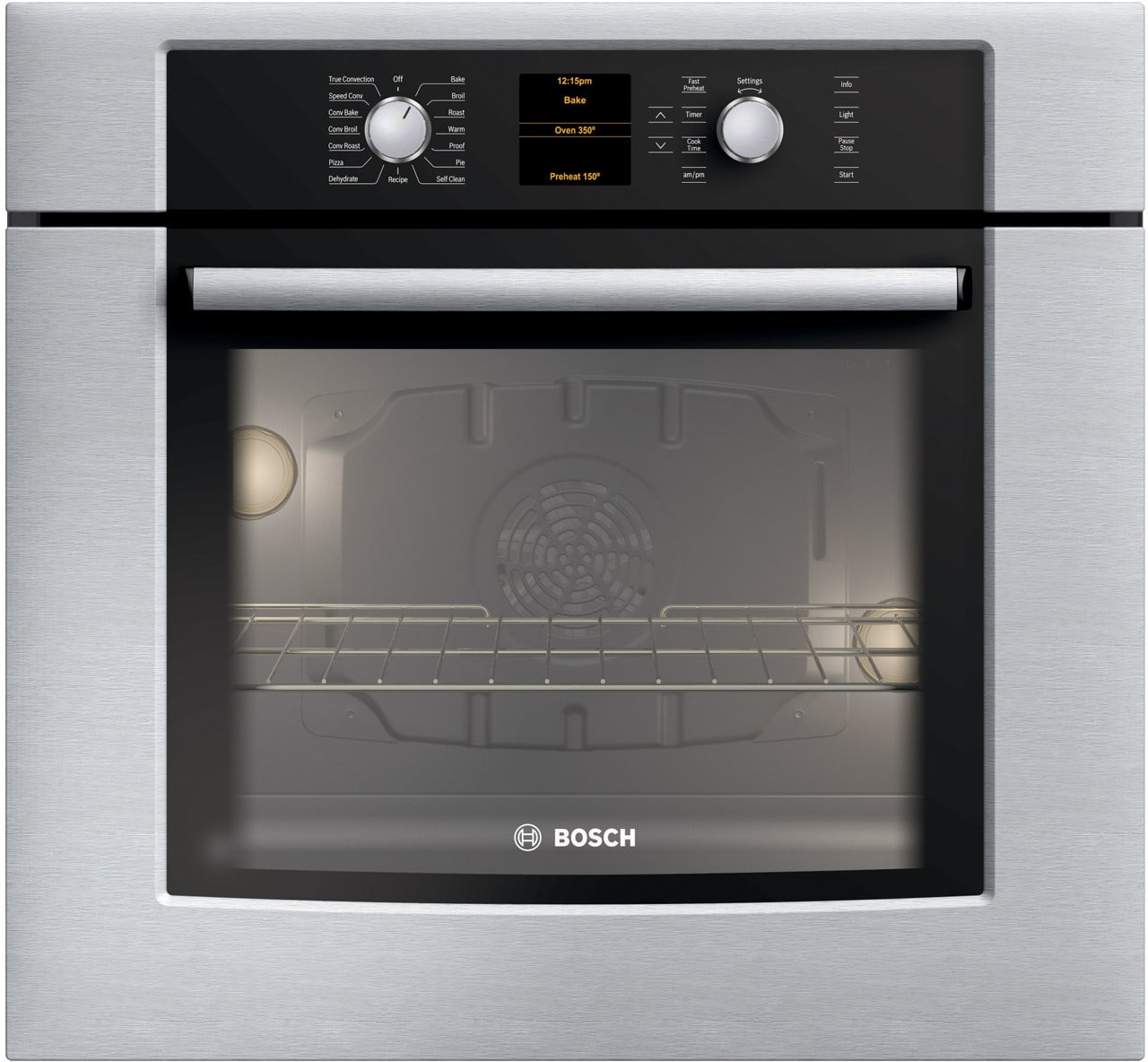 Bosch HBL5460UC 30 Inch Electric Wall Oven with Genuine European  Convection, 16 Cooking Modes, Glass Touch Controls with Ergonomic  Retractable Dials and ...