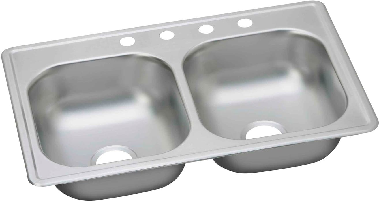 Elkay DSE233194 33 Inch Drop In Double Bowl Stainless Steel Sink With 8  Inch Bowl Depth, 20 Gauge And Sound Deadening Undercoat: 4 Faucet Hole