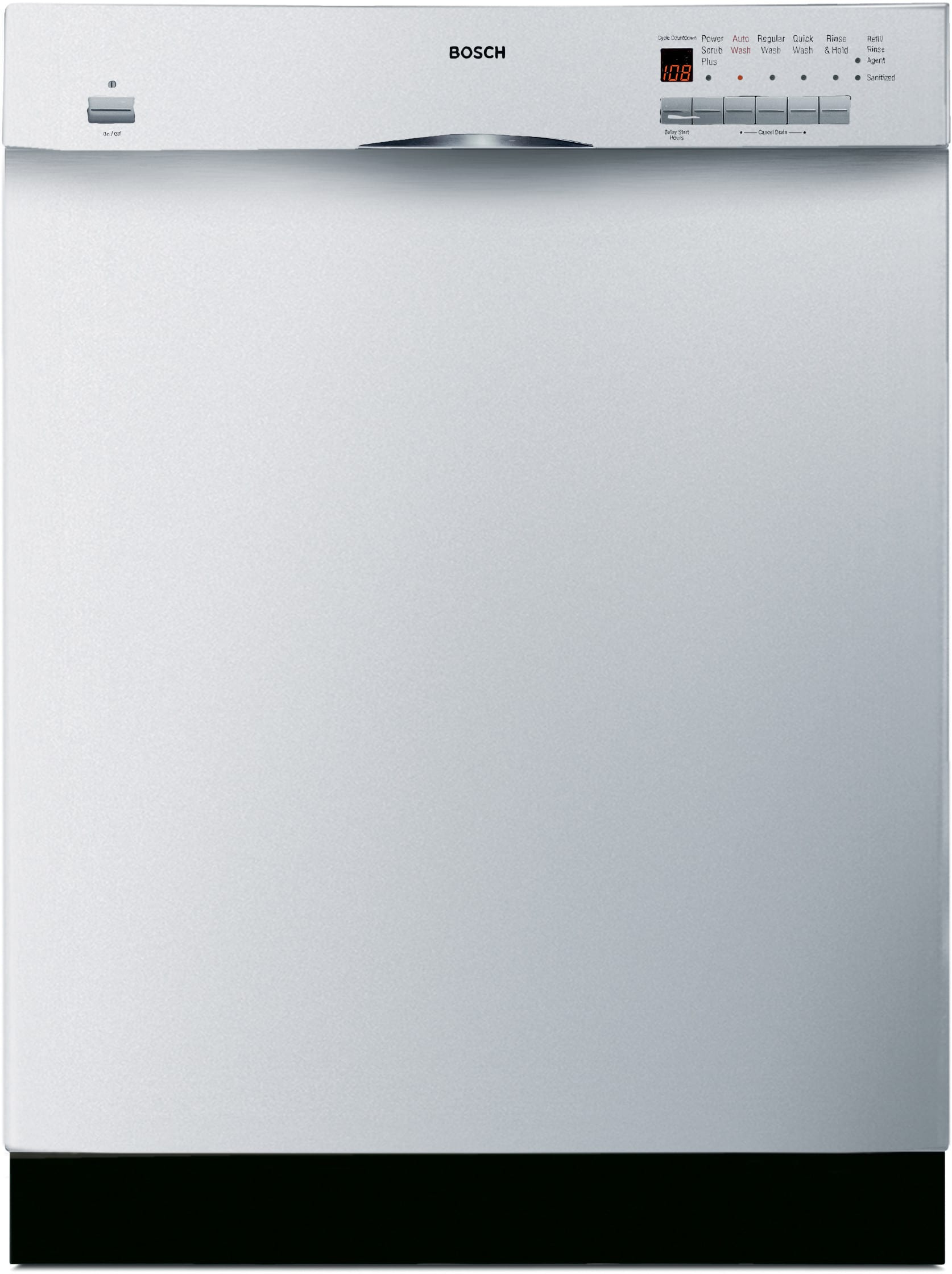 Bosch SHE56C02UC Full Console Dishwasher with 5 Wash Cycles, Platinum Mid  Racks, 19 Hours Delay Start & Silence Rating of 52 dB: White