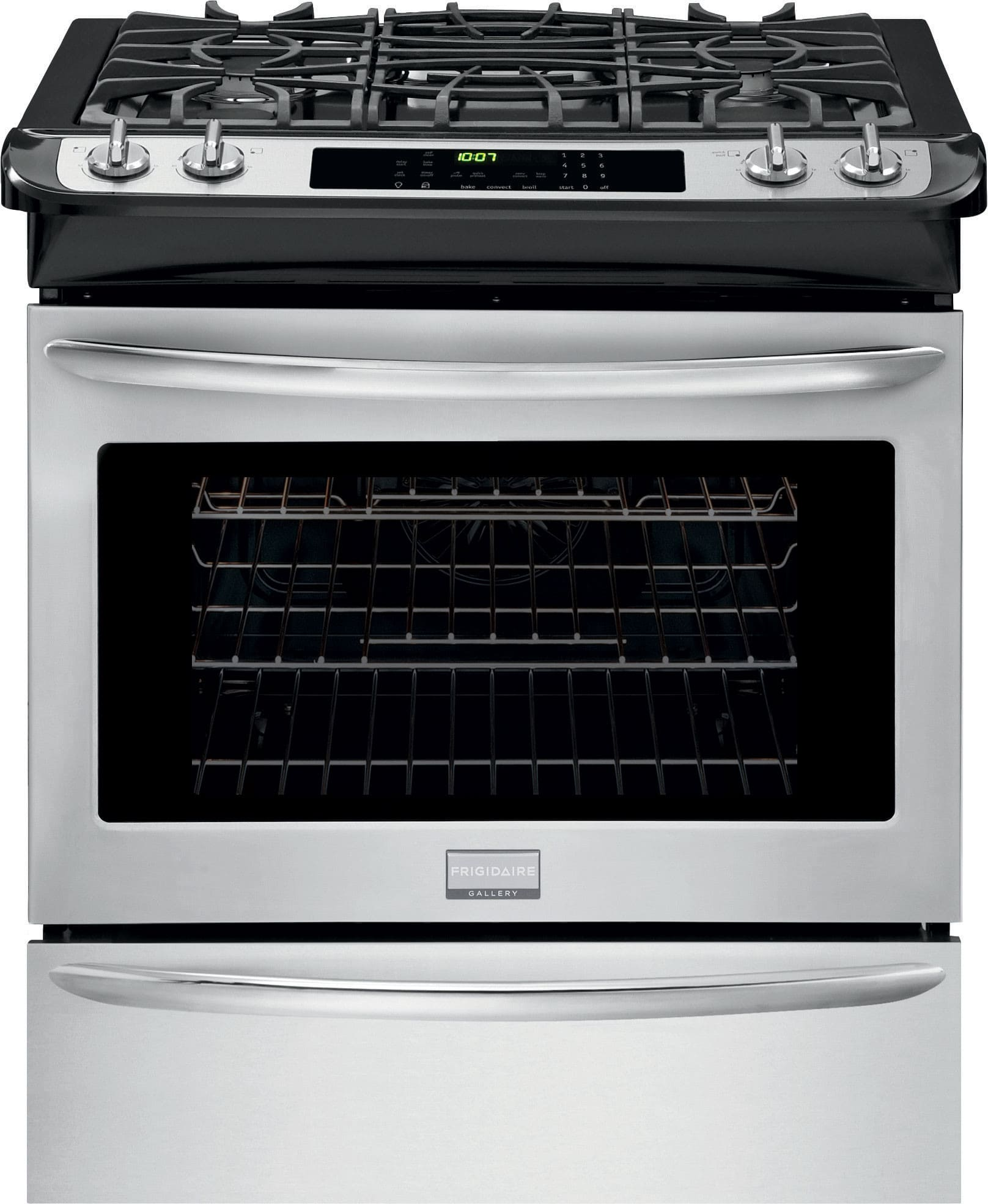 frigidaire fggs3065pf 30 inch slidein gas range with true convection quick preheat selfclean onetouch keep warm setting continuous grates