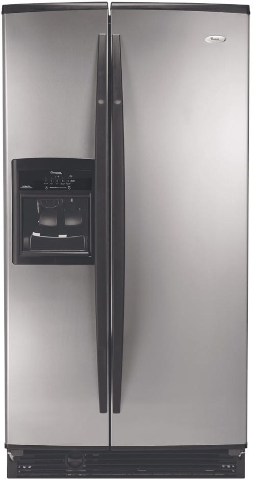whirlpool gs6shexns 25 6 cu ft conquest side by side refrigerator with in door ice dispensing. Black Bedroom Furniture Sets. Home Design Ideas