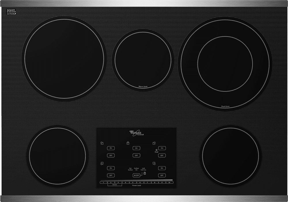 whirlpool g9ce3065x 30 inch smoothtop electric cooktop with accusimmer burners tap touch. Black Bedroom Furniture Sets. Home Design Ideas