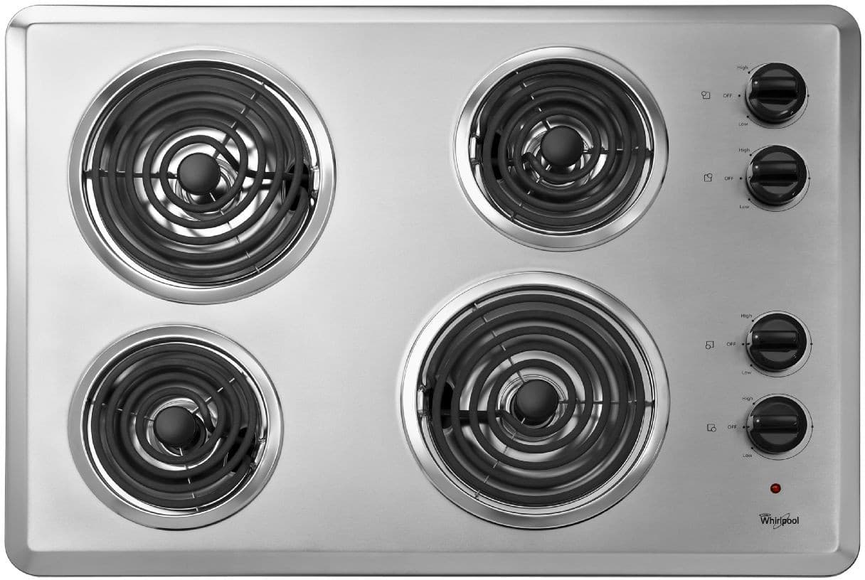 Countertop Ice Maker Menards : Whirlpool WCC31430AR 30 Inch Coil Electric Cooktop with 4 Coil Heating ...