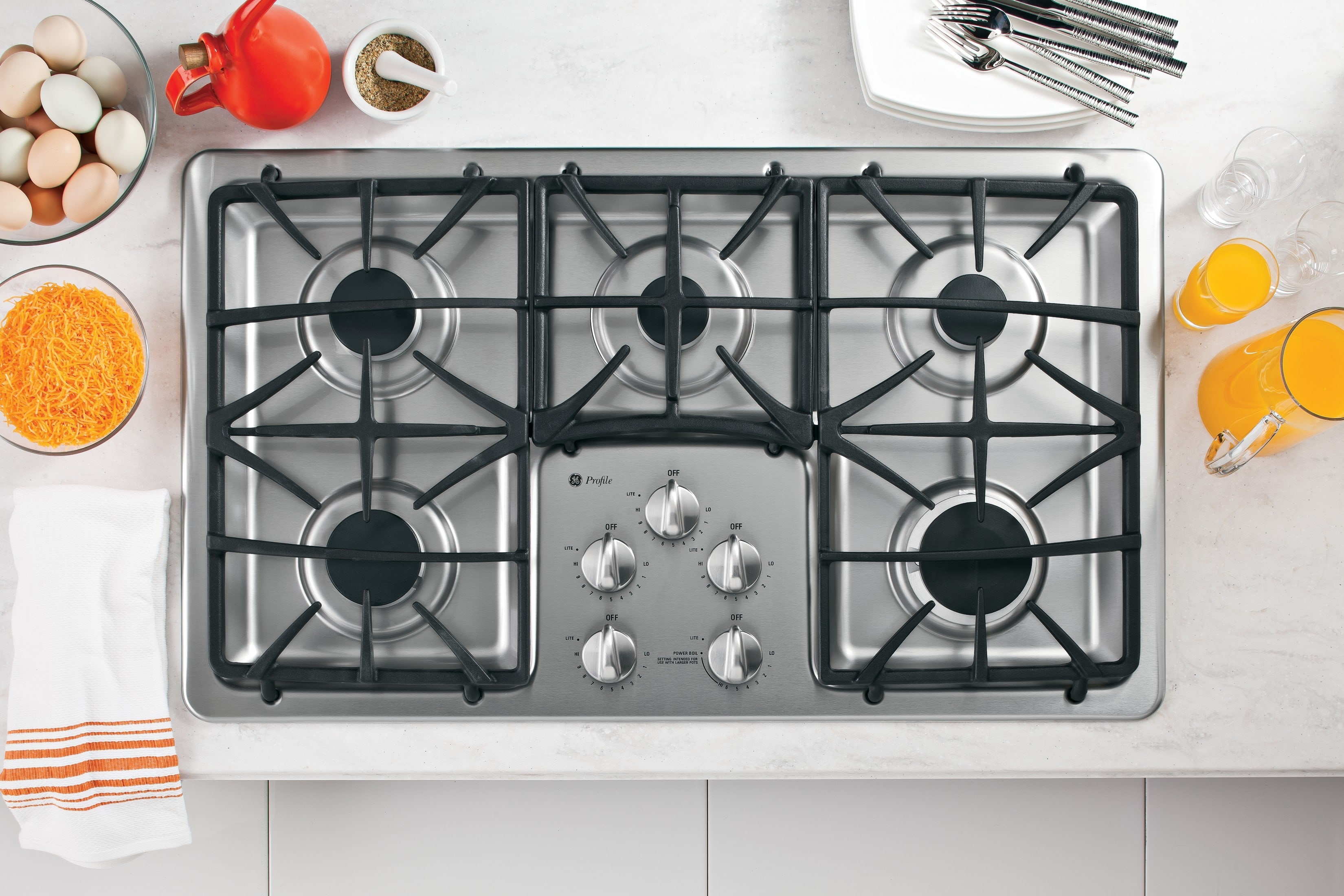 Ge Pgp966setss 36 Inch Gas Cooktop With 5 Sealed Burners