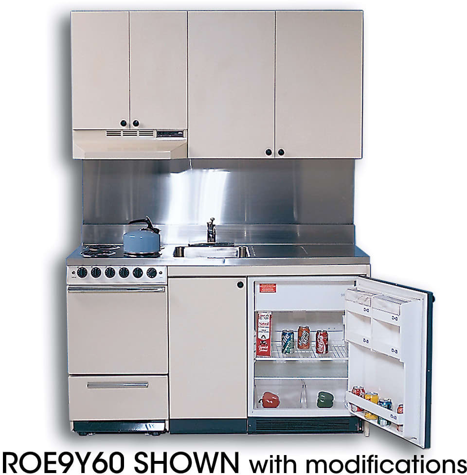 acme roe compact kitchen with stainless steel countertop 4 electric burners oven sink and compact refrigerator - Compact Kitchen Sink