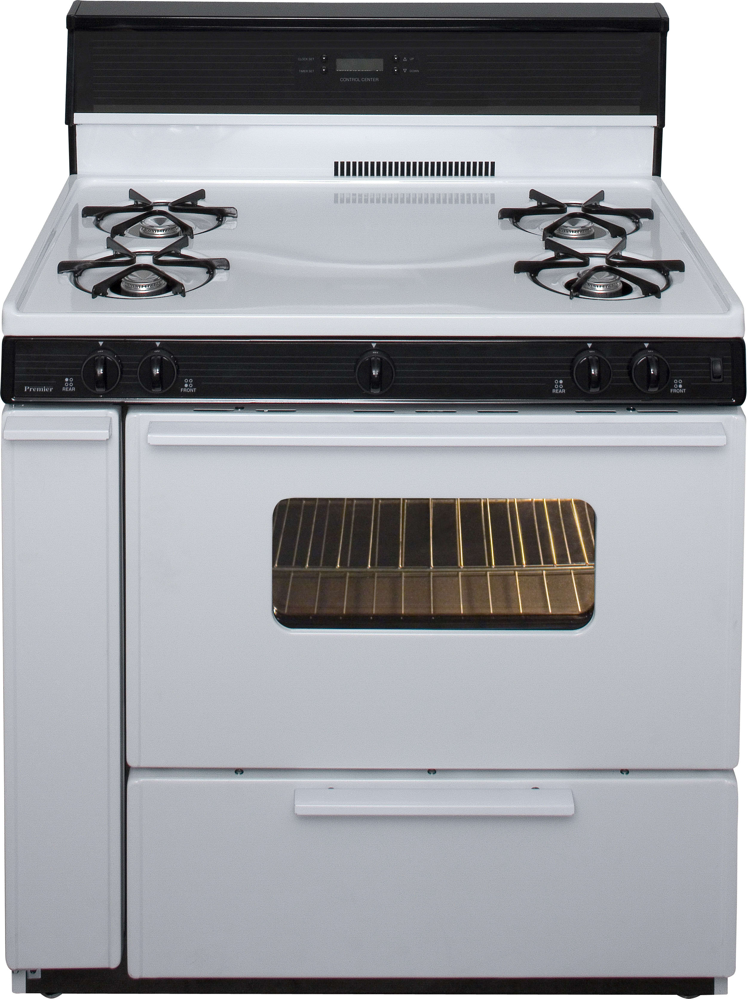 Premier Slk240wp 36 Inch Freestanding Gas Range With 4 Open Burners Electronic Ignition Clock Timer Oven Interior Light 17 000 Btu