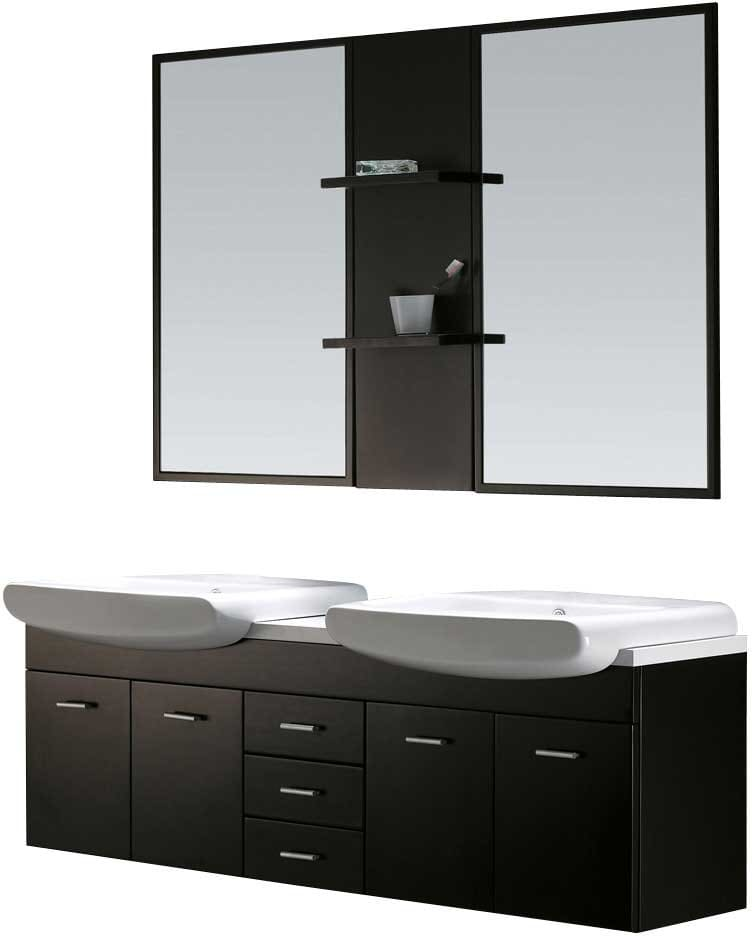 Vigo Industries Vg09001104k Wenge Finish With Mirror And Shelves