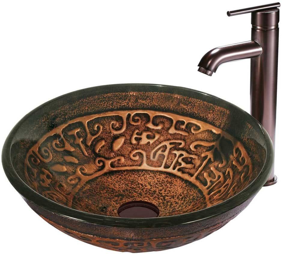 Vigo Bathroom Faucets vigo industries vgt127 copper mosaic glass vessel sink set with 6
